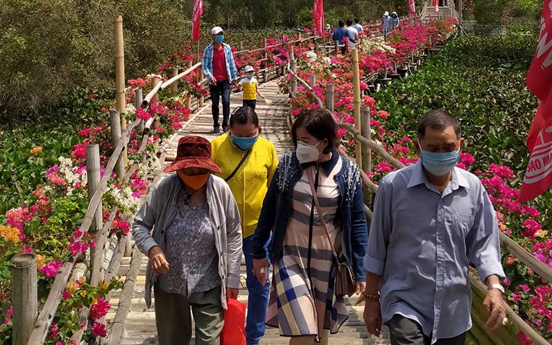 Khách du xuân rừng tràm Trà Sư, 'check-in' cầu tre dài nhất Việt Nam - Ảnh 2.