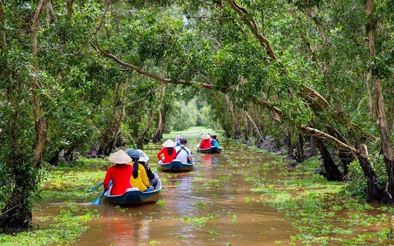 Khách du xuân rừng tràm Trà Sư, 'check-in' cầu tre dài nhất Việt Nam - Ảnh 4.