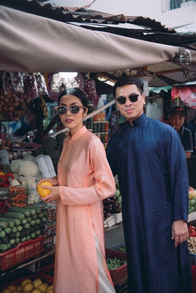 Tăng Thanh Hà diện áo dài sánh bước cùng người mẫu Quang Tuyến - Ảnh 4.