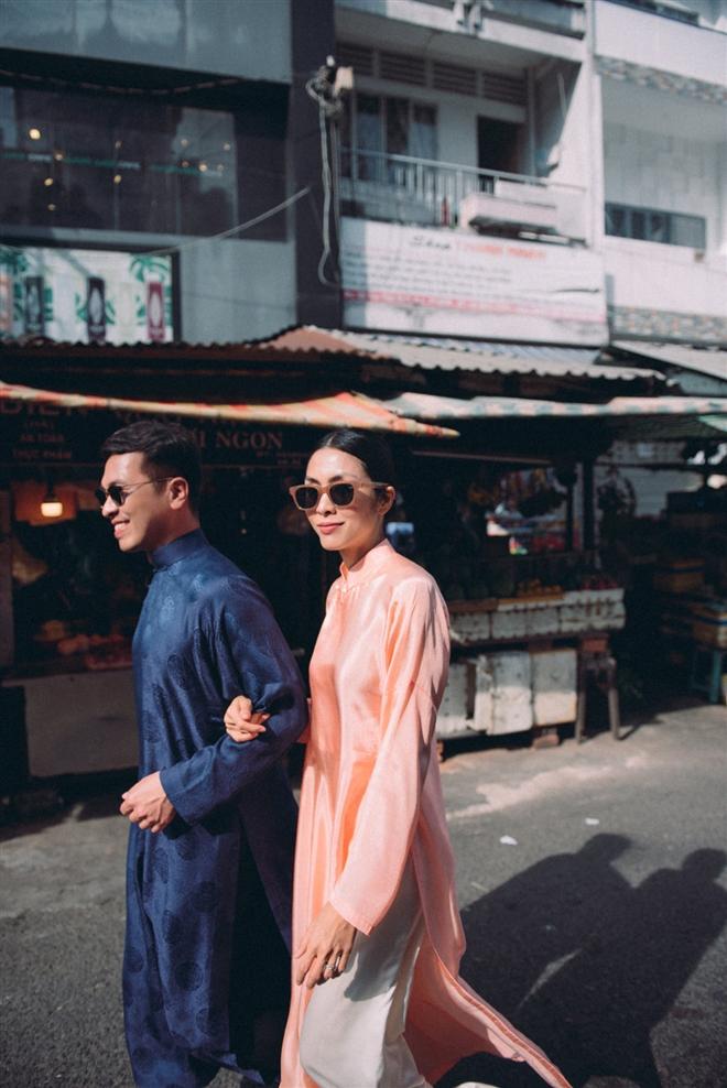 Tăng Thanh Hà diện áo dài sánh bước cùng người mẫu Quang Tuyến - Ảnh 3.