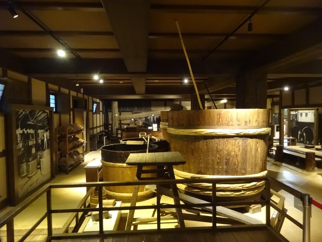 Old tools for Sake brewing(Kiku-Masamune Sake Brewery Museum).jpg