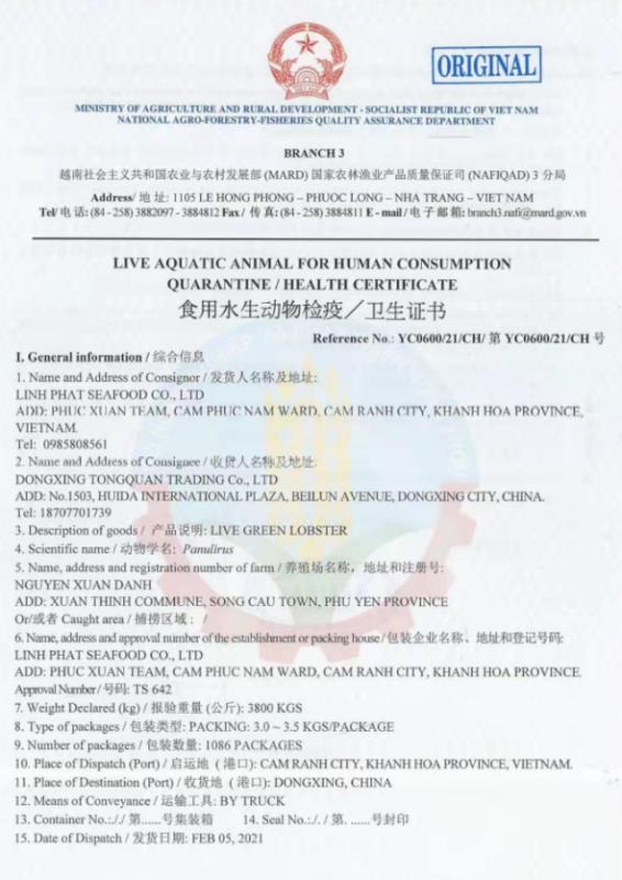 Công ty TNHH Linh Phát (Khánh Hòa) có làm trái Thông tư 48 về thẩm định chất lượng tôm hùm xuất khẩu sang Trung Quốc? - Ảnh 5.