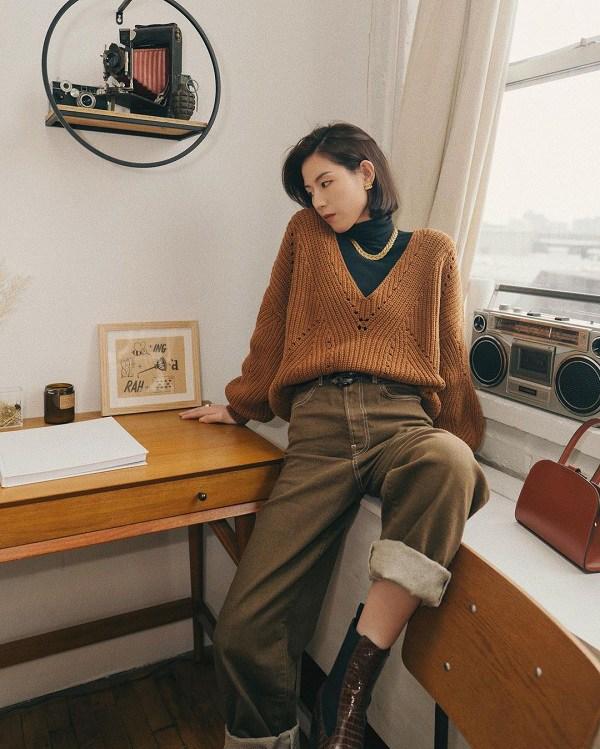 10 set đồ sang chảnh của sao Hàn, nàng mặc đẹp ngày Hà Nội mưa lạnh - Ảnh 12.