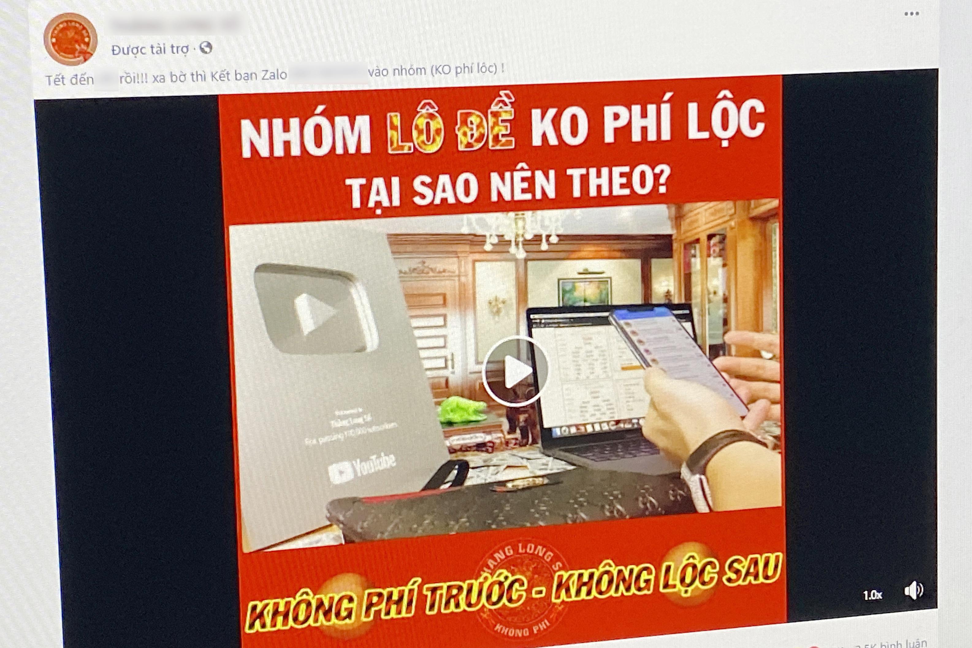 Quảng cáo lô đề tràn lan trên Facebook - Ảnh 1.