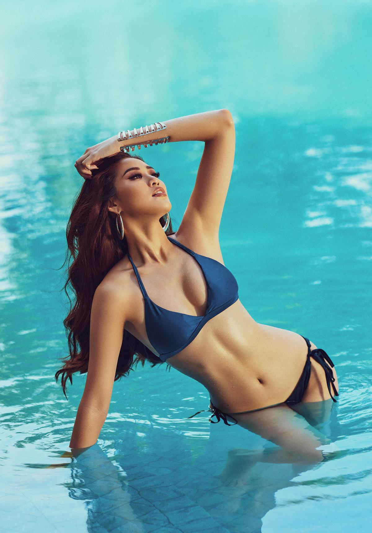 Mãn nhãn bộ ảnh bikini nóng bỏng của Hoa hậu Khánh Vân tại hồ bơi - Ảnh 8.