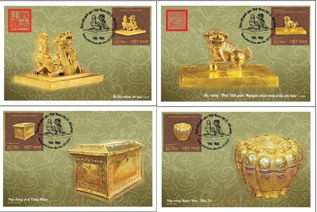 Phát hành bộ tem bảo vật quý về Phật giáo và ấn vàng thời Trần, Nguyễn - Ảnh 2.