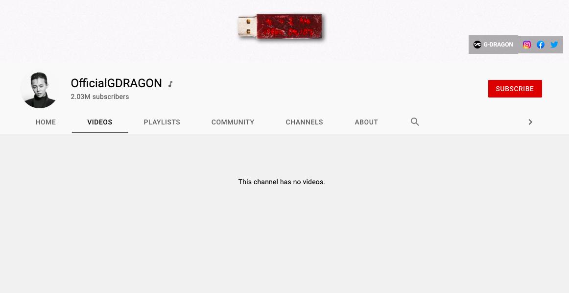 Kênh Youtube của G-Dragon trống trơn, vẫn có... hơn 2 triệu người theo dõi - Ảnh 1.