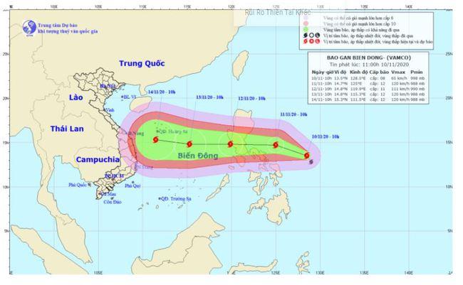 Bão Vamco dự kiến sẽ vào biển Đông vào ngày 12/11