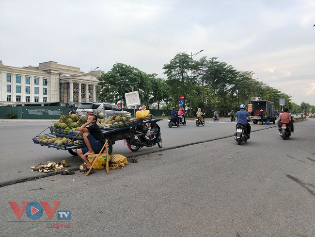 Hà Nội: Hàng chục ô tô 'vô tư' đậu dưới lòng đường bán trái cây - Ảnh 3.