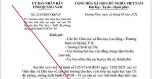 Quảng Nam: Xác định một học sinh làm văn bản giả mạo cho học sinh nghỉ học 1 tháng để phòng dịch