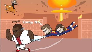 Biếm họa 24h: Messi và Pique bất lực trước 'máy chạy' Mbappe