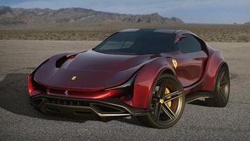 Siêu SUV đầu tiên của Ferrari qua tay dân thiết kế: Hầm hố tới dị dạng
