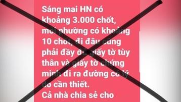 Bác bỏ tin đồn Hà Nội có 3.000 chốt phòng chống dịch Covid-19
