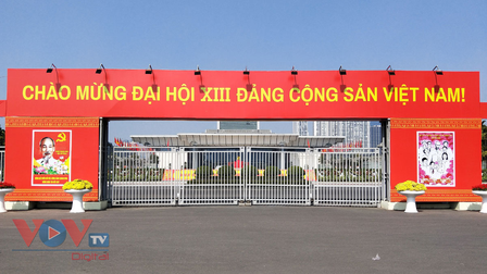 Trung tâm Hội nghị Quốc gia rực rỡ cờ hoa trước thềm Đại hội XIII của Đảng