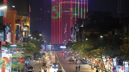 Hà Nội: Hệ thống chiếu sáng, cổ động trực quan chào mừng Đại hội XIII của Đảng rực rỡ trong đêm