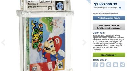 Video game cổ: Băng Super Mario 64 đạt giá kỷ lục 1,56 triệu USD