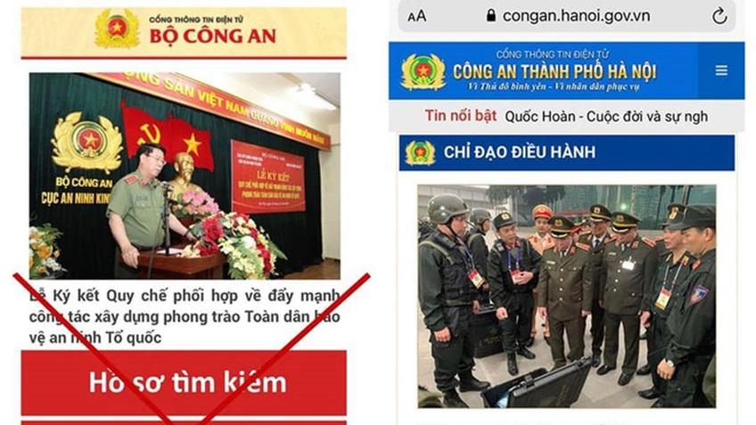 Phát hiện trang web giả mạo cổng thông tin điện tử của Công an TP Hà Nội